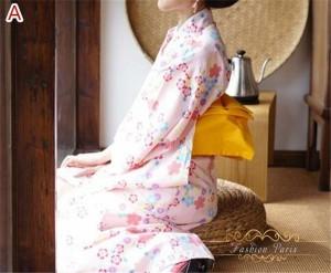 お花衣ゆかたレディース セット レトロ 浴衣セット 浴衣 作り帯  ピンク 花柄 あす着 涼しい 柔らかい お祭り 綿  ベルトなし
