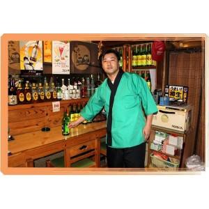 緑甚平 T/C 黒衿 男女兼用 (和風白衣甚平) (厨房 調理 白衣 ユニフォーム 制服)