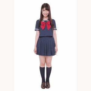 ■送料無料■カラーセーラー 色:紺×紺 赤リボン サイズ:M ■学生服・コスプレ・セーラー服・JK・女子高生【お取り寄せ】