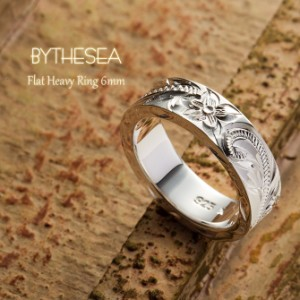 雑誌掲載 刻印 送料無料 フラットヘビーリング6mm 指輪 シルバー925 誕生石 シンプル ハワイアンジュエリー 大きいサイズ SR302