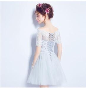 ... ドレス ミニ丈 ウエディングドレス ショートドレス 花嫁 お呼ばれドレス オフショルダー 演奏会 二次会ドレス