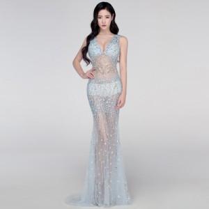 パーティードレス イブニングドレス ロングドレス カラードレス セクシードレス マーメイド 透け感 誘惑 キャバ嬢