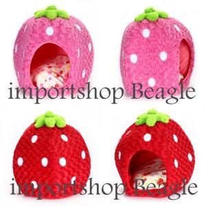 【送料無料】ペット用 いちごベット ハウス 苺ハウス ドーム イチゴ 可愛い ピンク レッド【猫ベッド】【犬ベッド】