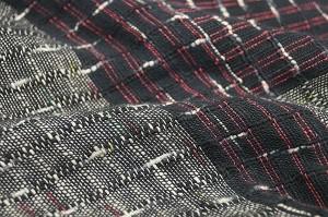 【樹亜羅-一杢】作務衣-綿100% グレー系黒赤ストライプ 寛-8
