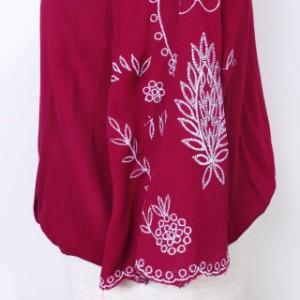 【Primazel/プリマゼル】全3色 刺繍フレア袖シアーブラウス トップス ブラウス 刺繍 花柄 黒 白 ボルドー
