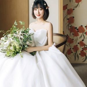 ウェディングドレス/マタニティー/結婚式/二次会/ホワイト/花嫁/エンパイア/