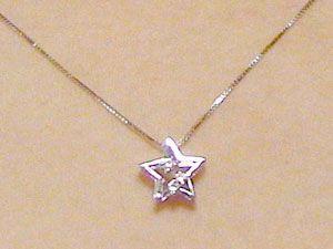 ダイヤモンド ネックレス ホワイトゴールド 星 スター ペンダント ダイヤ 0.03ct K18wg