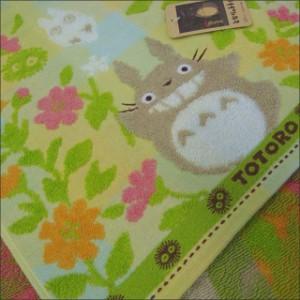 フェイスタオル  となりのトトロ 「花畑」 無撚糸パイル ガーゼ 刺繍 キャラクタータオル/キッズタオル