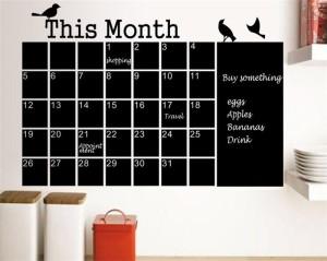 ウォールステッカー 壁飾り ウォールポップス 北欧モダン 部屋飾り 黒板のカレンダー型【F536】