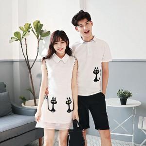 可愛い猫Tシャツ&ワンピース ペアルック カップル ペアルック Tシャツ ワンピース カップルお揃い 旅行