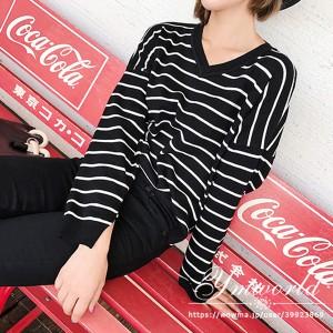 レディース セーター 韓国ファッション セーター 長袖 ゆるかニット ゆとりの、修身、独特のデザイン  Vネック 秋冬新作 ストライプ