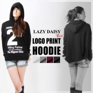 LAZY DAISY ロゴプリント レディース 裏毛パーカー72-9453