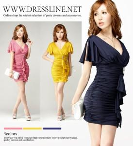 【アウトレット】【4サイズ】深Vデコルテ フレアスリーブ タイトワンピースドレス