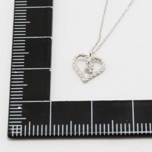 プチネックレス 揺れる 天然ダイヤモンド オープンハート 10金 K10ホワイトゴールド ダイアペンダント ブランド PURE ピュア