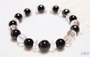 モリオン・スギライトのブレスレット19 当店人気No1 強力な邪気払いのお守り 一点もの グレー 黒 ブラック 天然石  黒水晶