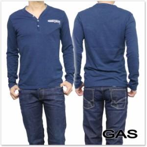 【セール 35%OFF!】GAS JEANS ガスジーンズ メンズヘンリーネックロングTシャツ HUGO/S CH / 300157 182441 ネイビー
