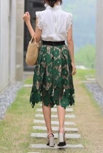 レトロ 可愛い 刺繍 総柄 フレア ロング スカート 膝丈 裏地付き 透け感