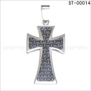 メール便 送料無料 ステンレス ネックレス ペンダント トップ コンビ クロス 十字架 CROSS ST-00014 チャーム ユニセックス アクセ =┃