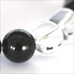 【メール便 送料無料】【開運】天然石ブレス 水晶+オニキス 10mm玉 MIX 2*2【黒瑪瑙/クリスタルクォーツ 10ミリ数珠ブレスレット】 ┃