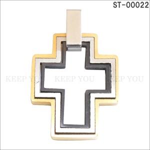 メール便送料無料 ステンレス ネックレス ペンダント トップ クロス 十字架 CROSS ST-00022 チャーム ユニセックス スチール アクセ =┃