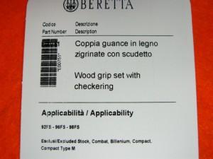 【遠州屋】 BERETTA社純正 [本物] ベレッタ M92F/M92FS/M9用 木製 グリップ 「正規品」 E00751  (市)★
