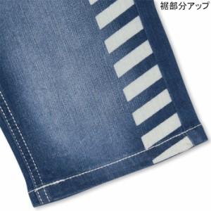 NEW♪ラインプリントデニムハーフパンツ-ベビーサイズ キッズ ベビードール 子供服-9424K