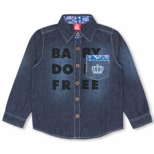 週末限定SALE60%OFF 親子ペア FREEデニムシャツ-ベビーサイズ キッズ 襟付き ベビードール 子供服-9401K