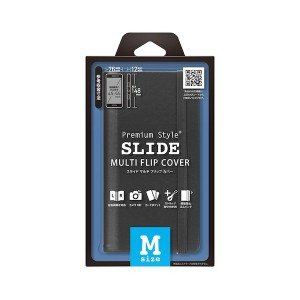 PGA 全機種対応 「SLIDE スライドマルチフリップカバー (ブラック/Mサイズ)」