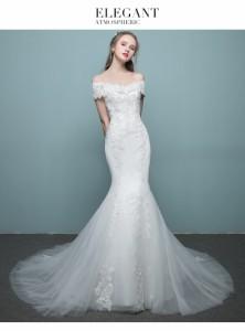 高級なオフショルダードレス お呼ばれドレス レースマーメイドドレス花嫁ドレス ウェディングドレス 二次会 大きい