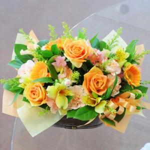 ビタミンカラー黄色オレンジ系のお花をたっぷりのアレンジ♪■オレンジ・ブロッサム☆旬なオレンジカラー 【送料無料】