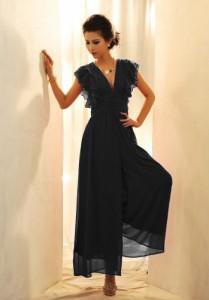 オールインワン / シフォン仕立て マキシ丈 ジャンプスーツ ドレス ワンピース 社交ダンス パーティー セレブ 衣装