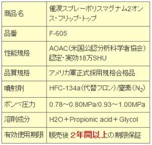 催涙スプレー F-605 ポリスマグナム 2オンスフリップトップ【送料無料(沖縄・離島除く)】【日本護身用品協会認定】【護身グッズ】