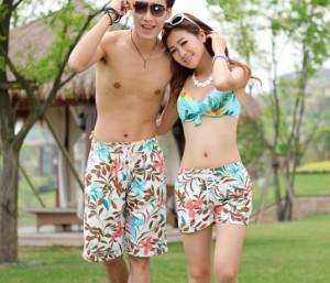 ビーチパンツ サーフパンツ ショートパンツ レディース・メンズ男女 カップル 水着用ボードショーツ 体型カバー カジュアル