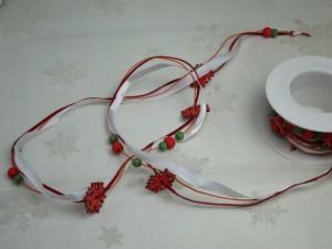 クリスマス( オーナメントリボン 雪結晶ポイント レッド ) オーナメント 飾り リボンASR