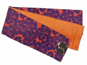 半幅帯 半巾 細帯 浴衣帯 四寸帯 リバーシブル四寸帯 日本製 オレンジ地 捻れ梅 柄 no2938