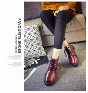 レディース ショートブーツ 女性 ラウンドトゥブーツ レースアップ 紐靴 防水 厚底 ハイヒール 冬 原宿風 ファッション 可愛い 美脚