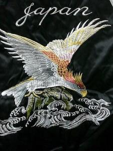 スカジャン 波鷹刺繍 日本製本格刺繍のスカジャン