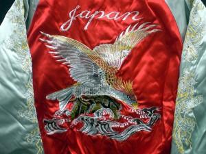 スカジャン 日本製本格刺繍のスカジャン3L 波鷹