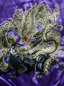 スカジャン 日本製本格刺繍のスカジャン2L 龍と黒豹