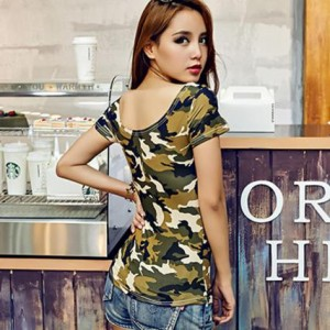 レディースファション 半袖Tシャツ  胸元 スリム 夜店 ボディコン ショットタイプ セクシー ぴったりシャーツ  トップス
