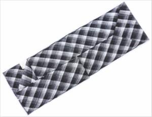 正絹全通柄組帯名古屋帯(なごや帯)黒白銀菱グラデーション カジュアル着物きものに