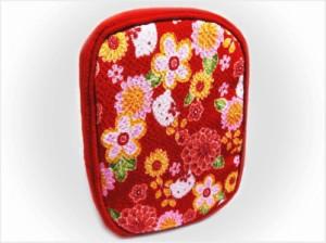 和×ハローキティちゃんコラボ 和柄ちりめんリップポーチ(コスメ・小物入れ)赤色地菊梅小花