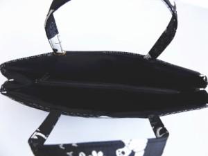 着物&お稽古事&洋服に 和柄織地手提げバッグ黒地猫ねこ横型
