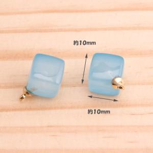 アクセサリー素材 材料 アクリルビーズ キューブ型 ミルキーカラー カン付き ミックス 10個 pt-128