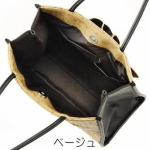 【ゆうメール配送可能】【3色から選べる】トートバッグ・手提げバッグ オーストリッチ風 フラワー  BL-40