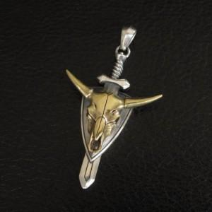 バッファローペンダント スカルプラトーンペンダントSVメンズペンダント カッコイイスカルペンダント ペンダント 真鍮 日本製<J.T.S>