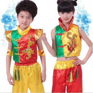 子供武術服 中国風子供ダンスウェア太極拳演出服 女の子 男の子 カンフー気功上下二点セット 龍刺繍 武術舞台表演服 コスプレ衣装
