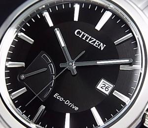 【CITIZEN/シチズン】メンズ ソーラー腕時計 パワーリザーブ付 ブラック文字盤 メタルベルト 海外モデル AW7010-54E