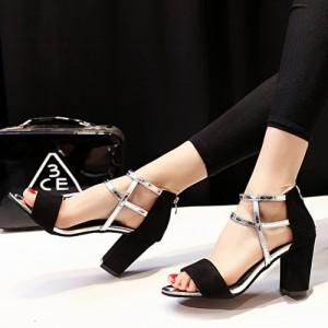 サンダル 厚底 厚底サンダル 太ヒール ヒール メタリック シンプル ベーシック シューズ 靴 レディース