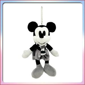ミッキーの家と ミートミッキー ぬいぐるみバッジ (モノクロ) ミッキー マウス ディズニー ぬいば 蒸気船ウィリー ( ランド限定 グッズ